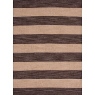 Handmade Flat Weave Stripe Pattern Brown Rug (8' x 10')