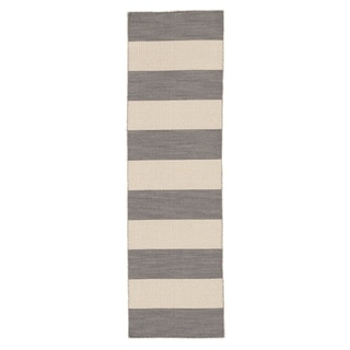 Handmade Flat Weave Stripe Pattern Gray/ Black Rug (2'6 x 8')