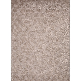Luxurious Hand-tufted Transitional Floral-pattern Gray/ Black Rug (8' x 11')
