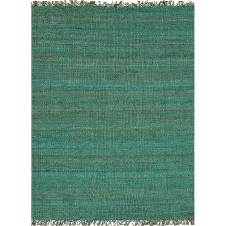 Handmade Flat Weave Solid Pattern Blue Rug (4' x 6')