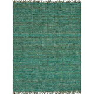 Handmade Flat Weave Solid Pattern Blue Rug (8' x 10')