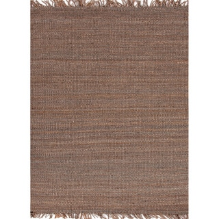 Handmade Flat Weave Solid Pattern Gray/ Black Rug (8' x 10')