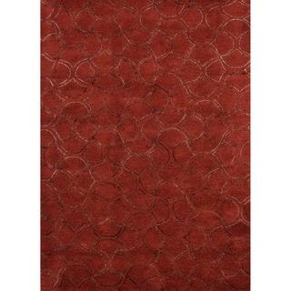 Hand-tufted Contemporary Geometric Red/ orange Rug (8' x 11')