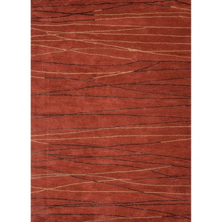 Hand-tufted Contemporary Geometric Red/ Orange Area Rug (8' x 11')