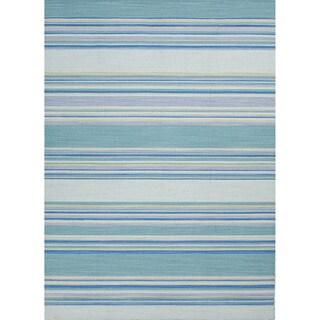 Handmade Flat Weave Stripe Pattern Blue Indoor Rug (2' x 3')