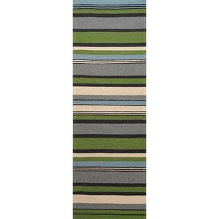 Hand-hooked Indoor/ Outdoor Stripe Pattern Green Rug (2'6 x 8')