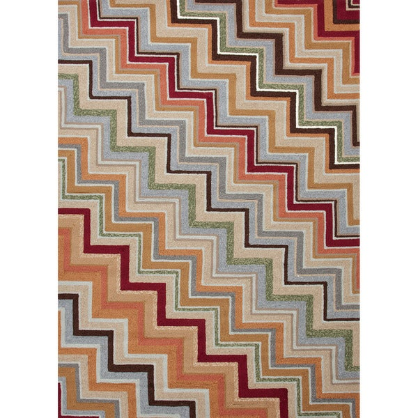 Hand-hooked Indoor/ Outdoor Stripe Red/ Orange Easy-care Rug (7'6 x 9'6)