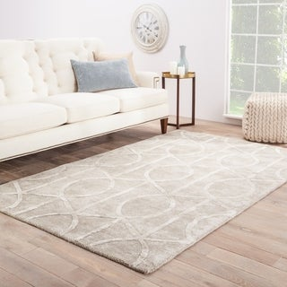 Hand-tufted Contemporary Geometric Grey Rug (8' x 11')