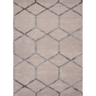 Hand-tufted Contemporary Cube Gray/ Black Area Rug (5' x 8')