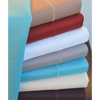 Simple Elegance Micro-checked 800 Thread Count 6-piece Sheet Set