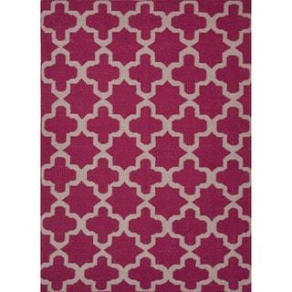 Handmade Flat-weave Geometric-pattern Pink/ Purple Area Rug (8' x 10')