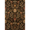 Hand-tufted Transitional Floral Pattern Black/ Brown Rug (8' x 11')