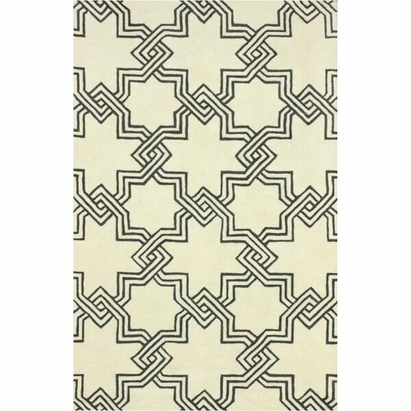 nuLOOM Handmade Modern Star Trellis Ivory Rug (5' x 8')