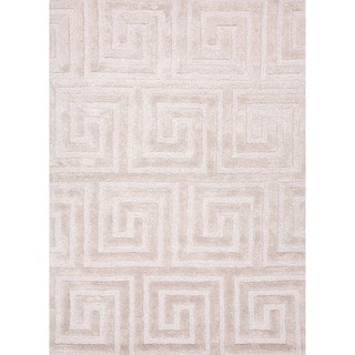 Hand-tufted Contemporary Geometric Pattern Ivory Rug (8' x 11')