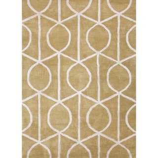 Hand-tufted Contemporary Geometric Pattern Green Rug (5' x 8')