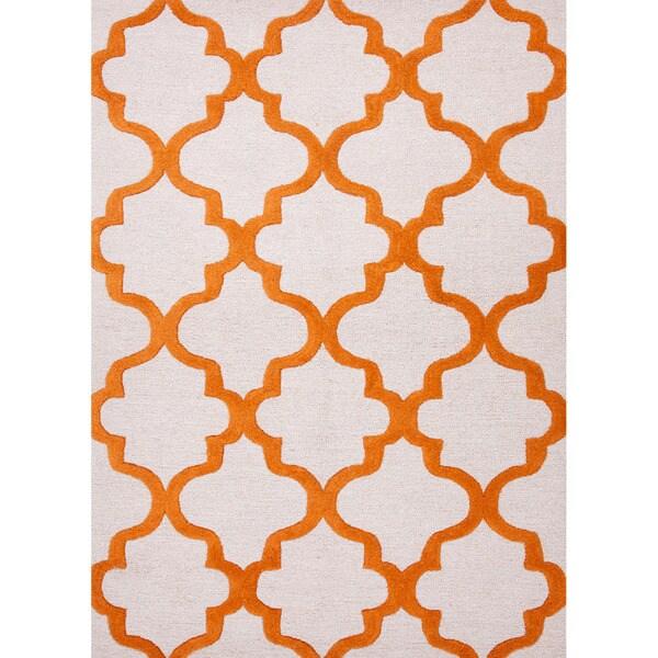Modern Rug Orange: Hand-tufted Textured Contemporary Geometric Red/ Orange