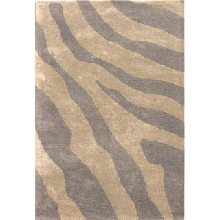 Hand-tufted Transitional Animal-print Gray/ Black Accent Rug (2' x 3')