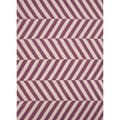 Handmade Flat Weave Stripe Pattern Pink/ Purple Wool Rug (3'6 x 5'6)
