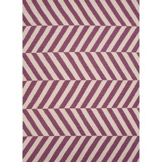 Handmade Flat Weave Stripe Pattern Pink/ Purple Wool Rug (3'6 x 5'6)