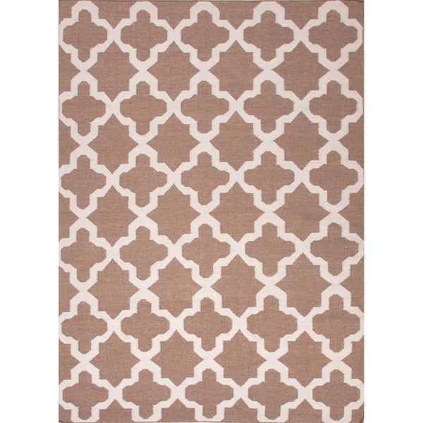 Reversible Handmade Flat Weave Geometric Pattern Brown Rug (3'6 x 5'6)