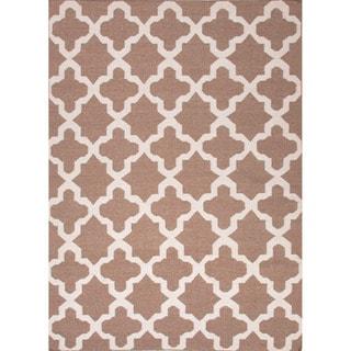 Handmade Flat-weave Modern Geometric-pattern Brown Rug (8' x 10')