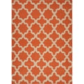 Handmade Flat Weave Geometric Pattern Red/ Orange Indoor Rug (5' x 8')