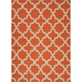 Handmade Flat Weave Geometric Pattern Red/ Orange Rug (5' x 8')
