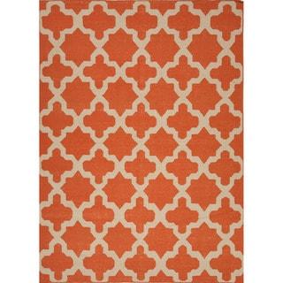 Handmade Flat Weave Geometric Pattern Red/ Orange Rug (8' x 10')