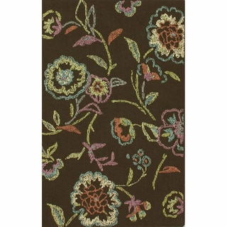nuLOOM Machine-tufted Contemporary Floral Dark Brown Rug (5' 6 x 7' 6)