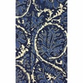nuLOOM Handmade Transitional Floral Blue Rug (7'6 x 9'6)
