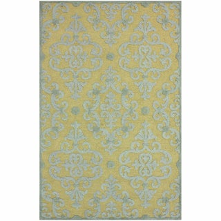 nuLOOM Handmade Transitional Damask Slate Wool Rug (7'6 x 9'6)