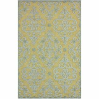 nuLOOM Handmade Transitional Damask Slate Wool Rug (4' x 6')