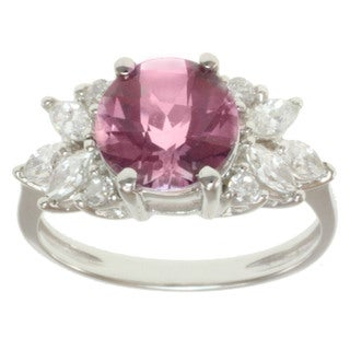 Michael Valitutti 10k White Gold Pink Topaz and Cubic Zirconia Ring