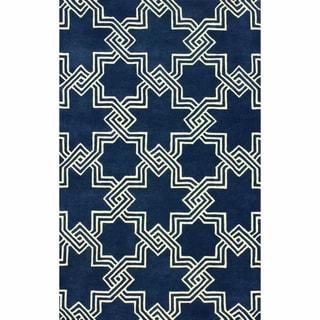 nuLOOM Handmade Modern Star Trellis Navy Rug (7'6 x 9'6)