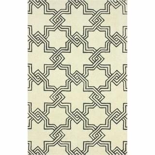 nuLOOM Handmade Modern Star Trellis Ivory Rug (7'6 x 9'6)