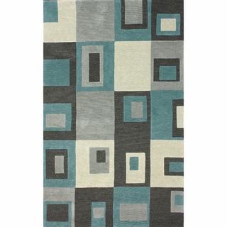 nuLOOM Handmade Contemporary Geometric Squares Blue Rug (4' x 6')
