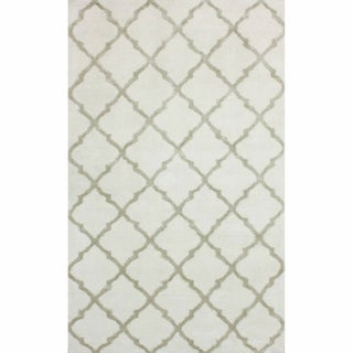 nuLOOM Hand-knotted Viscose Moroccan Trellis Rug Ivory (8' x 10')
