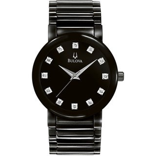 Bulova Men's Black Ion Plated Diamond-Accented Watch