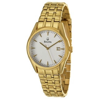 Bulova Men's '97B109' Gold-Tone Stainless Steel White Dial Quartz Watch