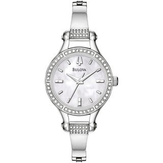 Bulova Women's '96L128' Silvertone Stainless Steel Mother-of-Pearl Dial Quartz Watch