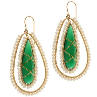 Michael Valitutti Gold over Silver Green Onyx and Pearl Earrings (1.5 mm)