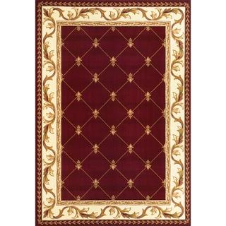 Domani Elegance Red Fleur-De-Lis Rug (3'3 x 4'11)