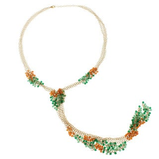 Michael Valitutti Gold over Silver Carnelian and Green Onyx Bead Necklace