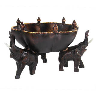 8.25-inch Triumphant Elephants Carved Rain Tree Wooden Bowl , Handmade in Thailand