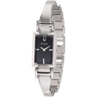 Bulova Women's 'Dress 96L138' Silvertone Stainless Steel Black Dial Quartz Watch