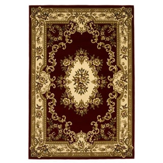 Domani Elegance Aubusson Red/Ivory Rug (5'3 x 7'7)
