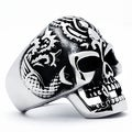 Stainless Steel Men's Vintage Cast Skull Ring
