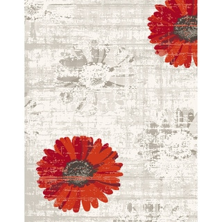 Eternity Daisy Ivory/ Red Rug (2' x 3'11)