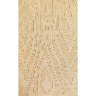 Domani Symmetry Wood Grains Ivory Wool Rug (5' x 8')