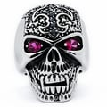 Stainless Steel Men's Red and Black Cubic Zirconia Fleur de Lis Skull Ring